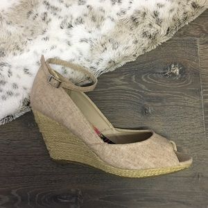 Womens Wedge Heels Beige Tan Open Toe Bamboo